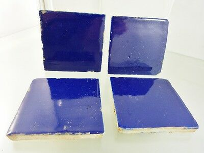 "VINTAGE MEXICAN NAVY BLUE TILES 2 5/8"" x 2 5/8""  SET OF 4"