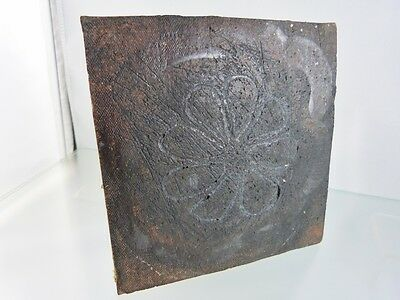 "VINTAGE MEXICAN MATTE BLACK FLOWER DESIGN TILE or TRIVET 5 3/8"" x 5 3/8"""