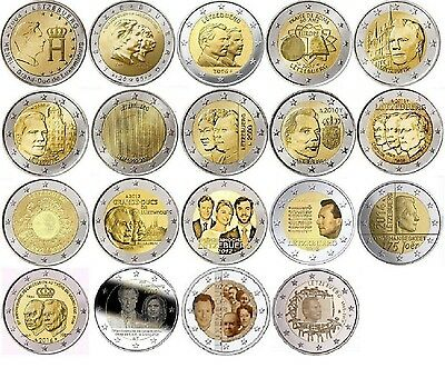 Luxembourg 2 euro Commemorate coins from 2004 - 2015, UNC luxemburg letzebuerg