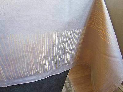 """SOFT! Brand NEW FRETTE Tihany Lines 59/"""" x 59/"""" Tablecloth Taupe w//Orange Lines"""