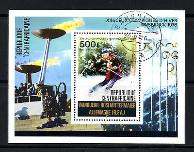 (Ref-5921) Central African Republic 1976 Winter Olympics  Miniature Sheet (CTO)