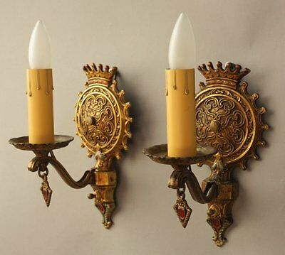 Pair 1920s Ornate Sconces Light Fits English Tudor Spanish Revival Gothic (8234)