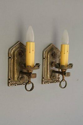 Pair 1920s Brass Sconce Light Fits StoryBook Gothic Tudor Spanish Revival (8204)