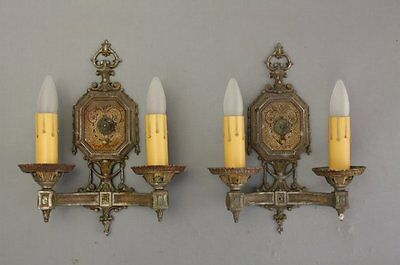 1920s Double Light Sconces Pair Fits Tudor Spanish Revival French Tuscan (8202)