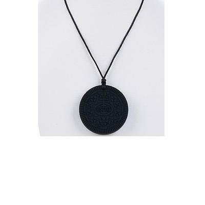 1 Baby Silicone Cookie Biscuit Teether Necklace and Pendant BPA Free Black Oreo