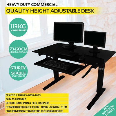 Height Adjustable Standing Desk Sit Stand Desk with Black Glass Top & Keyboard