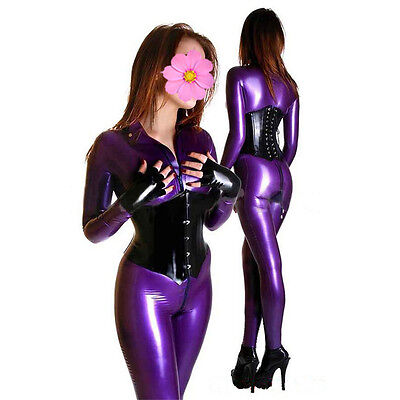 Metalic Purple Latex Catsuit With Socks And Front Zipper Under Crotch W/O Corset