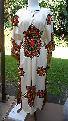 Colorful Vintg African Patterned Long Caribbean Caftan/Dasheeki Costume fits all