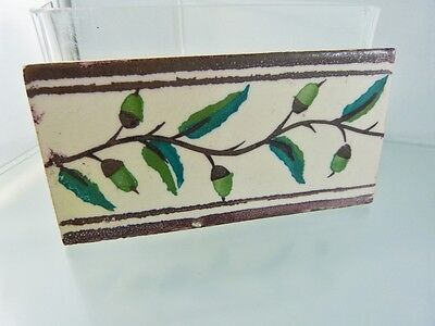 "VINTAGE MEXICAN LEAF & BERRY BORDER TILE  5 5/8"" x 2 3/4"""