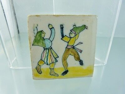 "VINTAGE MEXICAN WOMAN & MAN DANCING GREEN HATS FOLK TILE  2 5/8"" x 2 5/8"""