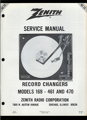 Original Factory Zenith 169-461 470 Record Player Phono Turntable Service Manual