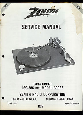 Orig Factory Zenith 169-386 C9022 Record Player Phono Turntable Service Manual