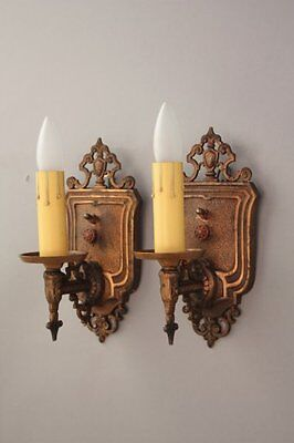 Pair 1920s Sconce Lights Fits Tudor Colonial Spanish Revival Cottage (8093)