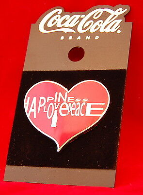Vintage Coca-Cola Brand Coke Happiness Love Peace Heart Trading Pin