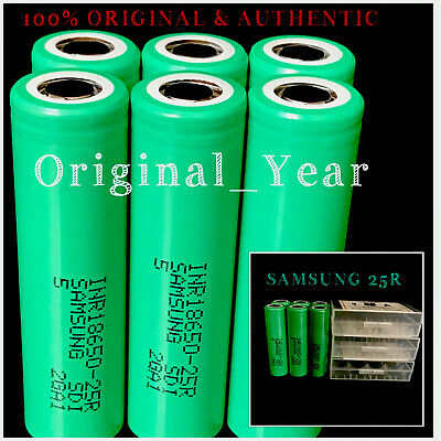 6 18650 Samsung 25R 2500mAh 35A High Drain Rechargeable Battery Free Case