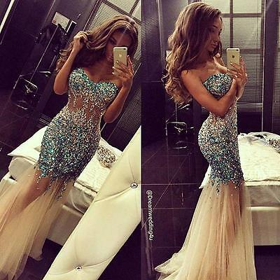 Rhinestone Mermaid Evening Dress Beaded Pageant Celebrity Formal Party Prom Gown