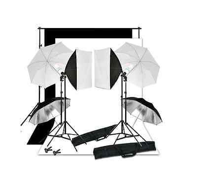 Photo Studio Continuous Softbox Umbrella Lighting Set Backdrop Light Stand Kit