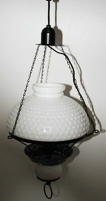Vintage Hanging Hall Light with Hobnail Glass Shades - FREE Postage [PL1459]