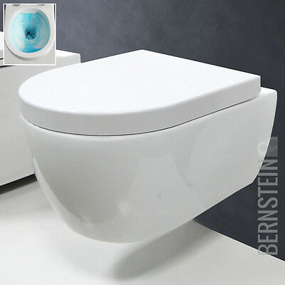 BERNSTEIN SPÜLRANDLOS Design Wand Hänge WC Toilette Tiefspüler Soft Close Sitz