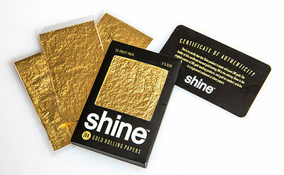SHINE 24K GOLD 1.25 ROLLING PAPERS - CHOOSE FROM 1,3 or 5 SKINS or 12(FULL PACK)