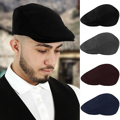 Mens Plain Wool Blend Fully Lined Flat Cap Newsboy Cabbie Gatsby Baker Boy Hat