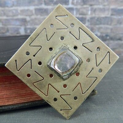 Danny's Mexico Sterling Silver Square Abalone Pin / Brooch