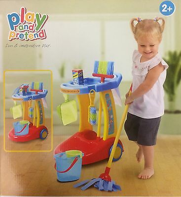 Authentic Children's  Cleaning Trolley Set Fun And Imaginative Play