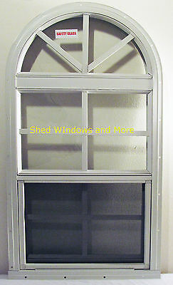 NEW Arched Shed Window Safety Glass White J-Channel Playhouse Storage Shed Barn