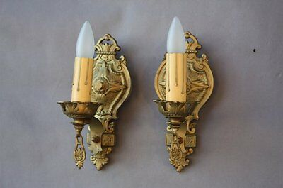 Pair 1920's Petite Light Sconces Spanish Revival StoryBook Cottage French (7374)