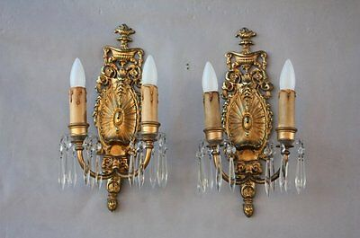 Pair 1930s Ornate Brass Sconces Spanish Revival StoryBook Cottage French (7372)