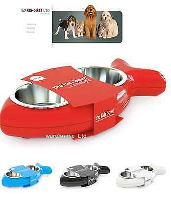Cat Bowl Hing Fish Twin Stainless Steel Bowls Non Slip Feeding Dish All Colours