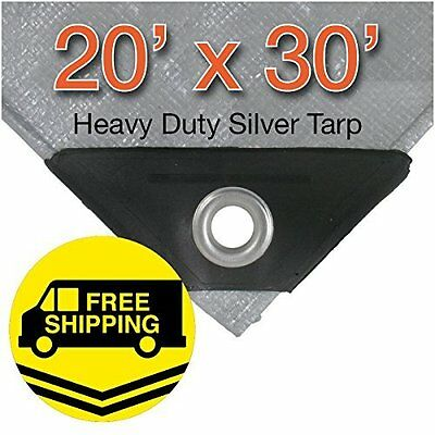 20 X 30 12 Mil Heavy Duty Silver Tarp, Canopy X-L Reinforced Ends, Boat Cover