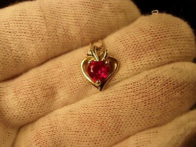 Beautiful Little Sterling Silver & Vermeil Ruby Red Cz Heart Pendant & Necklace