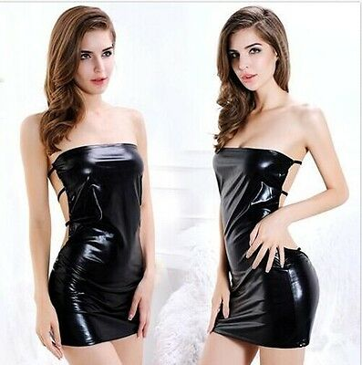 Sexy Strapless Patent Leather Ladys PARTY DRESS WET LOOK Fetish Bodycon Clubwear
