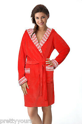 Women Short Length Dressing Gown With Hood FR-027