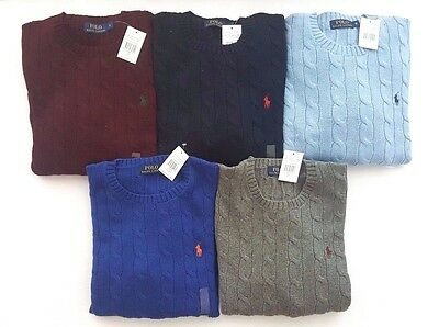 Polo Ralph Lauren Mens Roving Cable Knit Crew Neck Jumper Sweater - RRP £115