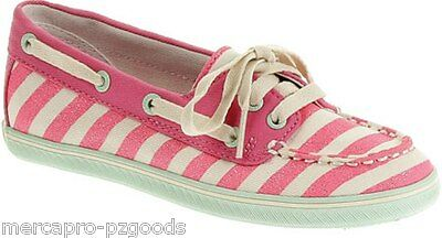 Sperry Top Sider Cruiser Coral Coral Stripe Pink White Canvas Size 4.5 M Girls
