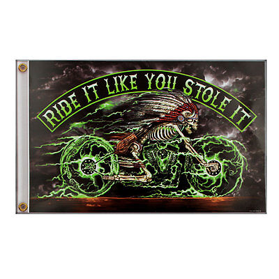 Biker Chopper Ride It Stole Indian Indianer Electric Skelett Flagge Fahne Banner