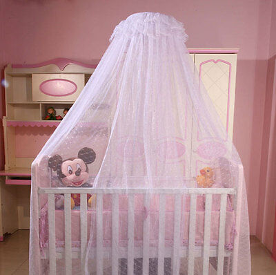 Toddler Crib Netting Hanging Dome Baby Mosquito Net with/without stand, Solid