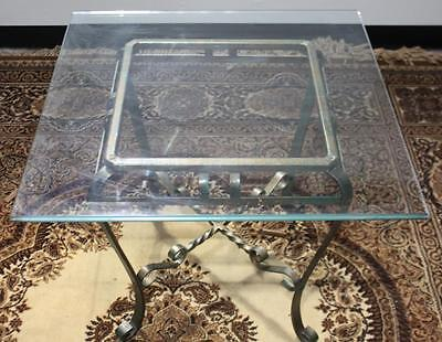 Vintage Copper Wrought Iron Glass Top Coffee Occasional Table -PL-4441