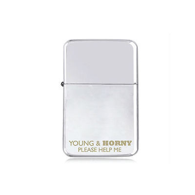 *STAR*  Young & HORNY engraved LIGHTER silver pink gold black MOTO SEXY SAYING