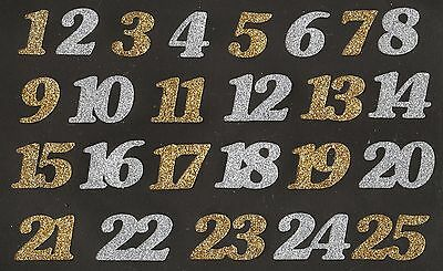 Advent Numbers - Gold and Silver glitter