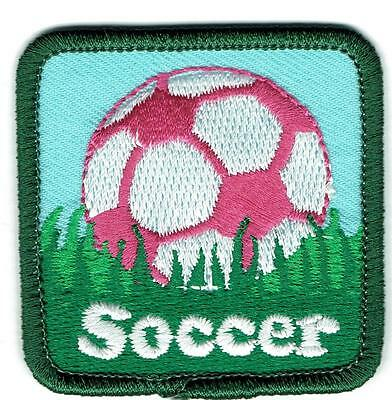 Girl Pink SOCCER GAME Skills match Fun Patches Crests Badges SCOUT GUIDE Ball