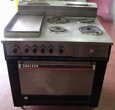 "Garland  electric range - 4 buners - 12"" flat top grill with oven"