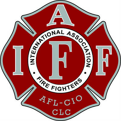 """4"""" IAFF Decal Red with Gray and White Trim Exterior Mount PLEASE READ AUCTION"""