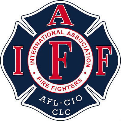 """4"""" IAFF Decal Blue with Red and White Trim Exterior Mount PLEASE READ AUCTION"""