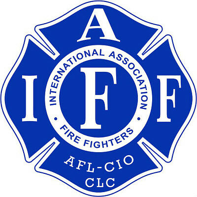 """4"""" IAFF Decal Blue with White Trim Exterior Mount PLEASE READ AUCTION"""
