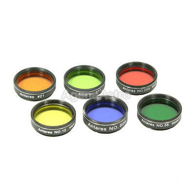 """Antares 1.25"""" Color Filter Set for Telescope Eyepiece - Set of 6 Filters"""