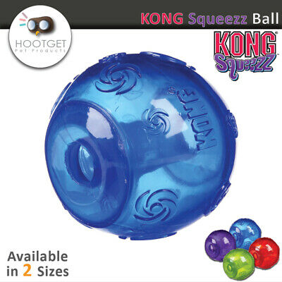 KONG Squeezz Ball-Pet Puppy Dog Squeak Fetch Throw Play Toy [3 Sizes /4 Colours]