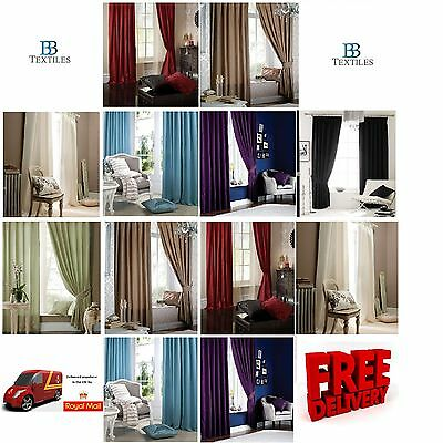 Catherine Lansfield Luxury Faux Silk Pencil Pleat Curtains various colours